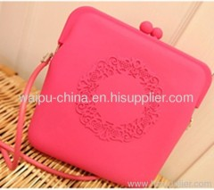 Pink silicone bag with embossed logo