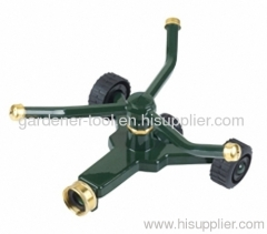 zinc 3 arm yard rotary sprinkler with wheel