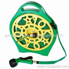 50FT Garden flat hose with Plastic OK reel