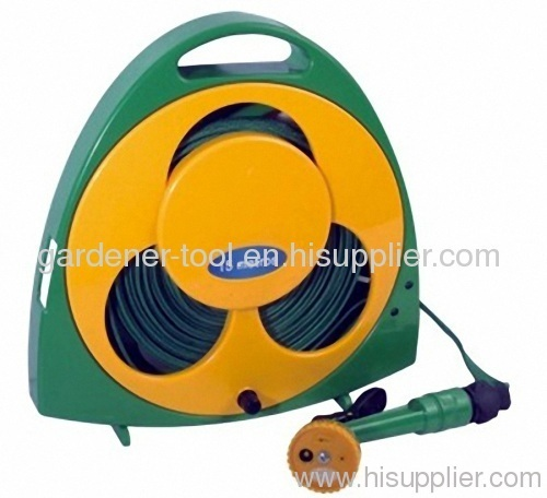 15M Flat Garden Water Hose Reel With Water Spray Gun