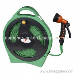 Flat Hose Reel With 50FT Flat Hose And 7-Function Nozzle