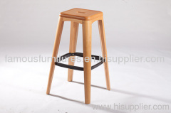 square modern classic solid wood steel rootrest haut bar stool