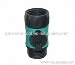 Plastic garden water hose tap connector with valve