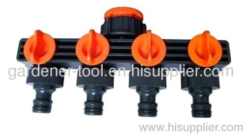 4-way Plastic water hose tap connector