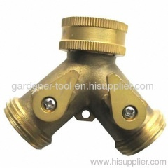 Brass Y hose tap coupling with valve