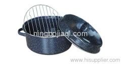Porcelain enamel roasting pan with rack 155B