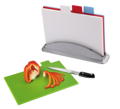 color coded cutting board with stand