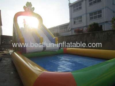 Frog Inflatable Water Slide With Detachable Pool