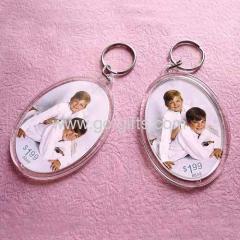 Oval acrylic photo frame keyrings