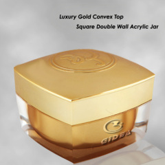 Gold Square Acrylic Double Wall Plastic Cream Cosmetic Jar