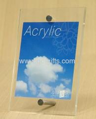 A6 sized acrylic photo frame with metal foot