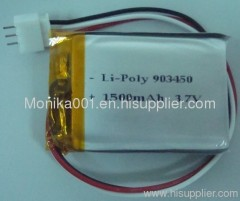 3.7V 1500mAh Lithium Polymer Rechargeable Battery Pack 903450