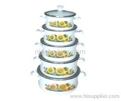 flowers enamel bowl set