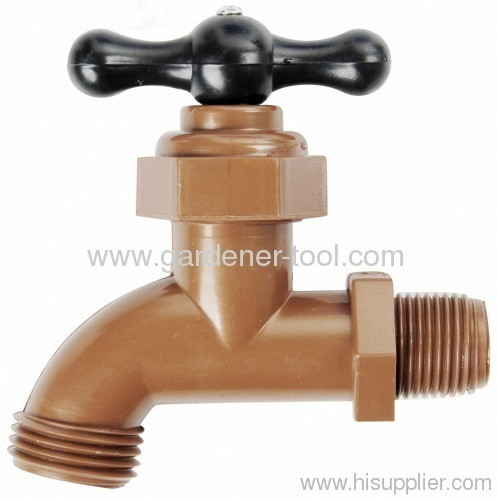 Plastic outdoor water faucet with male screw nozzle