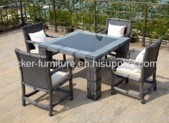 Square wicker dining table with 4chairs