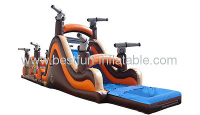67ft Wet/Dry Pirate Obstacle Course Inflatable Water Slide