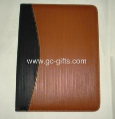brown-black A4 sizes pu leather organizer with notepad