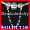 european 925 Sterling Silver Safety Chain with Gold Plated Love to Love Beads SS0264
