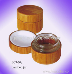 Bamboo container cosmetic package cream jar
