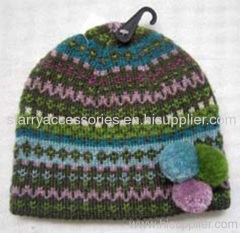 Acrylic multicolor jacquard knitted hat