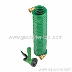 Garden Water Coil Hose With Brass Coupling.