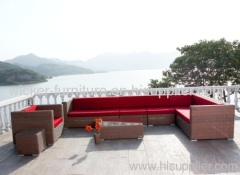 Patio sectional outdoor wicker sofa in 7pcs