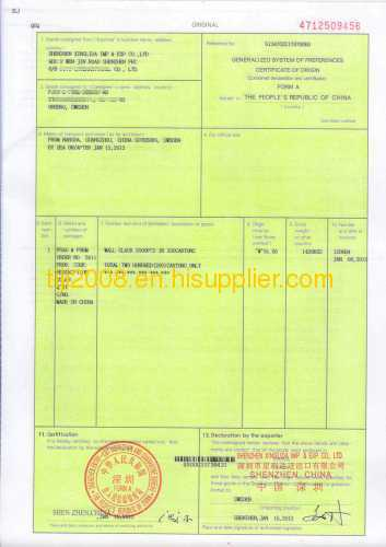 Form A Certificate Of Origin From China Manufacturer - Shenzhen