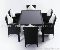 Flat wicker rectangle dining set with 6chairs