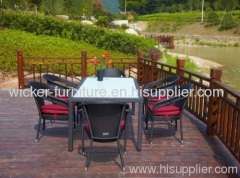 Stack patio wicker dining chair and dining tables