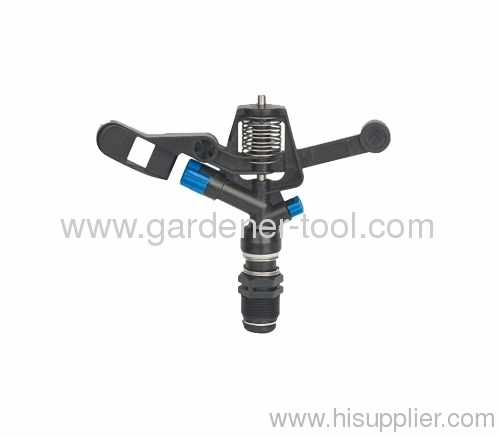 Agriculture water impulse sprinkler with plastic base