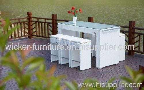 Patio wicker bar set with tempered glass on table top from China ...