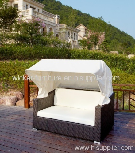Patio Chaise Sofa Bed With Footrest And Roof
