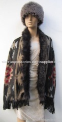 acrylic multicolor jacquard woven shawl with fake fur