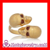Wholesale Fashion Cool Double Gold Plated Swarovski Crystal Skull Ring