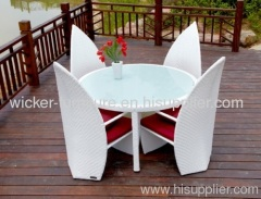 Wicker leaves round dining table with 4chairs