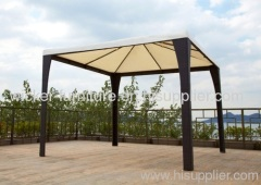 Garden rattan square gazebo with waterproof cloth roof