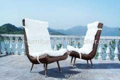 Patio round wicker leisure chair with table