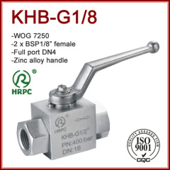 "Hydraulic female 2 x 1/8"" BSP thread 2 way full port ball valves 7250 WOG"