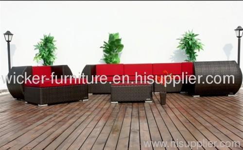 Patio wicker sectional sofa both suit in outdoor and indoor