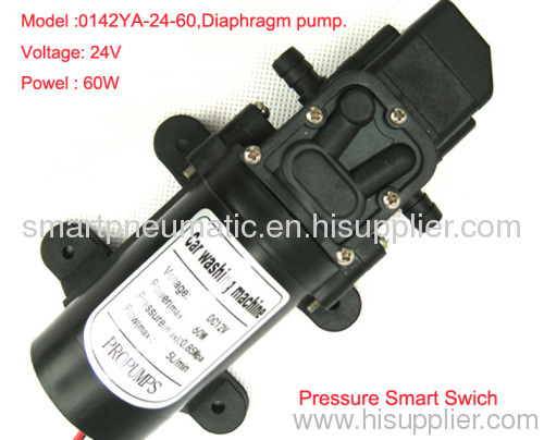 Miniature electric diaphragm pump DC24V mini DCwater pump 60W,4.5m3/h,0.85mpa,five years long life.