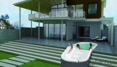 outdoor swimming pool with slide