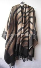 acrylic multicolor zebra woven shawl