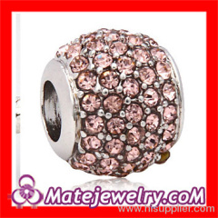 Pave Crystal european Charm Beads