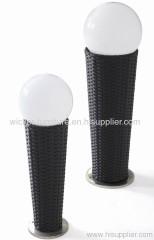 Patio round wicker floor solar lamps