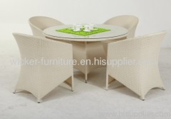 Outdoor wicker dining round table and chairs