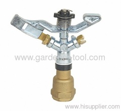 Zinc lawn sprinkler with double opposed brass nozzle