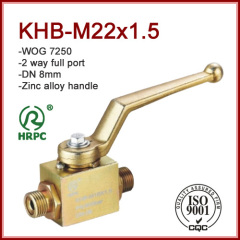 2 way full port M22x1.5 male thread dn8 hydraulic pressure ball valve 7250psi