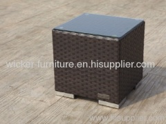 Garden rattan tea table with tempered glass