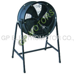 Large AC inline portable axial duct fan with stand bracket