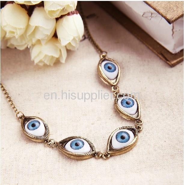 Wholeslae Stylish Gold Pated Turkish Evil Eye Necklace Cheap